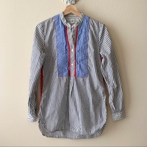 GAP pinstripe button down with ruffle/embroidery